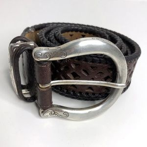 Brighton Womens Brown Cut-out Leather Belt Silver